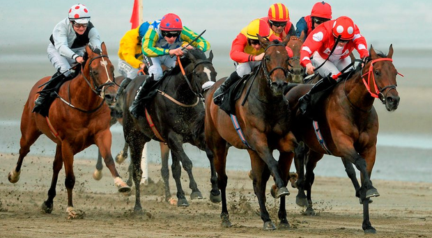 Putin (right) and jockey Billy Lee on their way to winning at Laytown SPORTSFILE