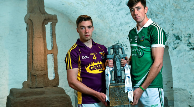 Wexford captain Eoin Conroy, left, and Limerick captain Diarmuid Byrnes