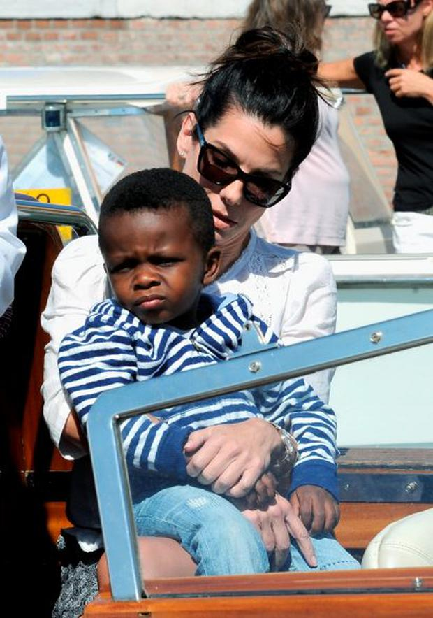 Actress Sandra Bullock and son Louis Bardo Bullock
