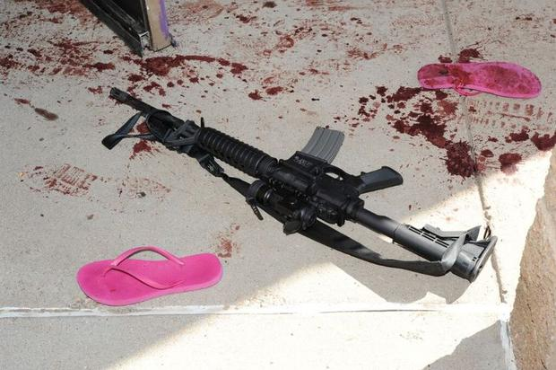 An assault weapon pictured outside the theatre (Photo: Arapahoe County District Attorney's Office )
