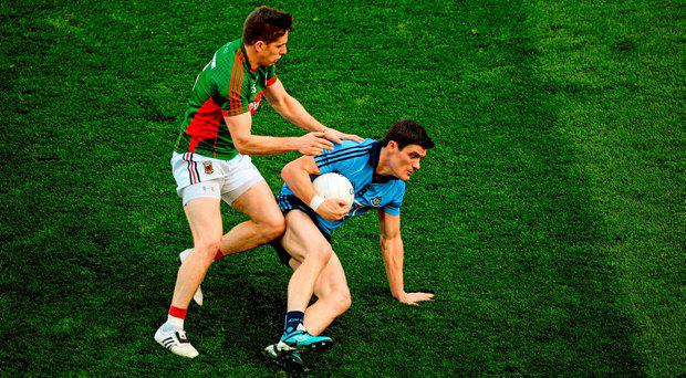 Diarmuid Connolly, Dublin, in action against Lee Keegan, Mayo