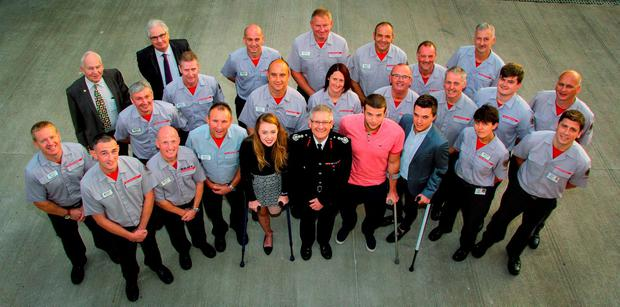 Firefighters involved in the rescue operation following the Alton Towers roller-coaster crash with (front left to right) Leah Washington, Chief Fire Officer Peter Dartford, Daniel Thorpe and Joe Pugh Credit: Staffordshire Fire and Rescue Service/PA Wire
