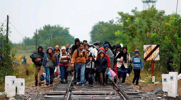 A big group of migrant people cross the serbian-hungarian border near Roszke, southern Hungary in Roszke, Thursday, Sept. 10, 2015