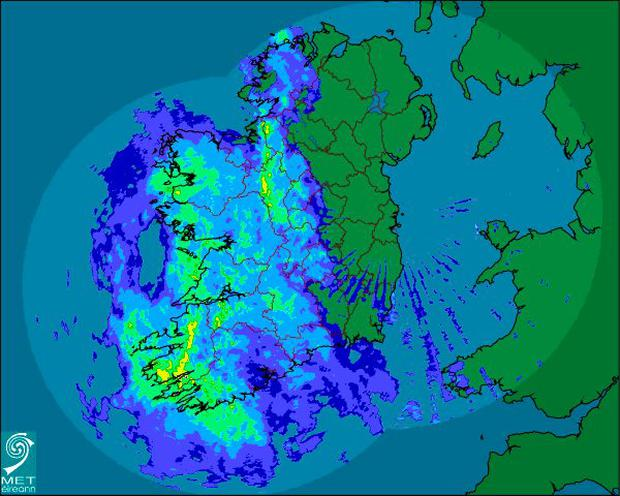 Rain forecast for the weekend Credit: Met Éireann