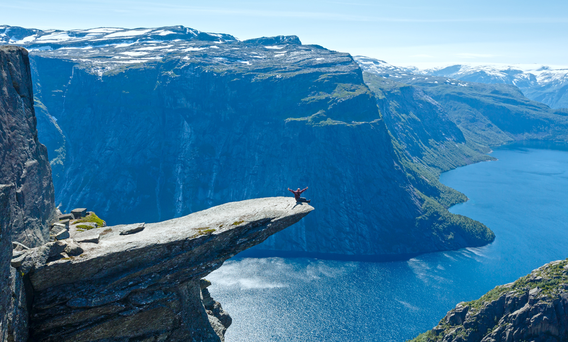 A summer view of Trolltunga (The Troll's tongue) in Norway. Photo: Deposit.