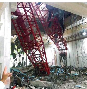 At least 65 people dead and 154 people injured in Grand Mosque in Mecca from falling crane Pic: Twitter