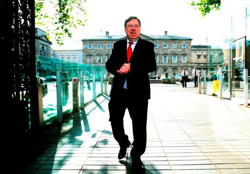 Former Taoiseach Brian Cowen arriving at Leinster House, for the Banking Inquiry. The pre-golf meeting between Mr Cowen, former Anglo bank boss Sean FitzPatrick and three others captured the essence of the inquiry. Photo: Brian Lawless/PA
