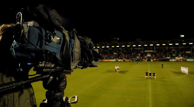A general view of a television camera at Tallaght Stadium. Picture credit; Stephen McCarthy / SPORTSFILE
