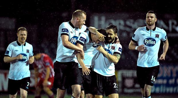 Dundalk's Ronan Finn, centre celebrates with team-mates Chris Shields, left, and Darren Meenan after scoring his side's third goal. FAI Senior Cup, Quarter-Final, Dundalk v Sligo Rovers, Oriel Park, Dundalk, Co. Louth. Picture credit: David Maher / SPORTSFILE