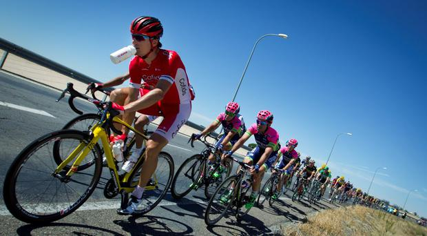 The pack ride during the 19th Stage of the 2015 Vuelta Espana cycling tour, a 185,8 km route between Medina del Campo and Avila yesterday