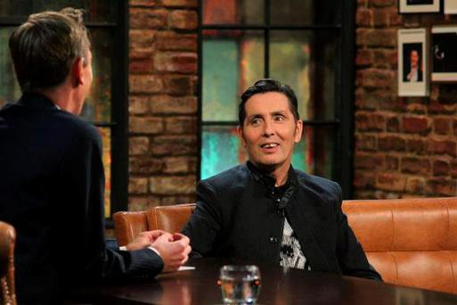 Ryan Tubridy interviews Christy Dignam on tonight's Late Late Show Pic: RTE One