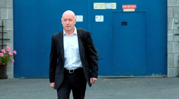 Anthony Lyons walks free from Arbour Hill prison in Dublin yesterday