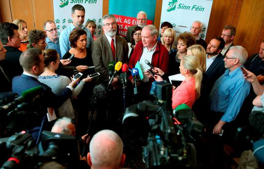 Mary Lou McDonald, Sinn Féin leader Gerry Adams and Martin McGuinness at a meeting of SF's Dáil, Assembly and European Parliament teams, at the City North Hotel, Co Meath. Photo: PA
