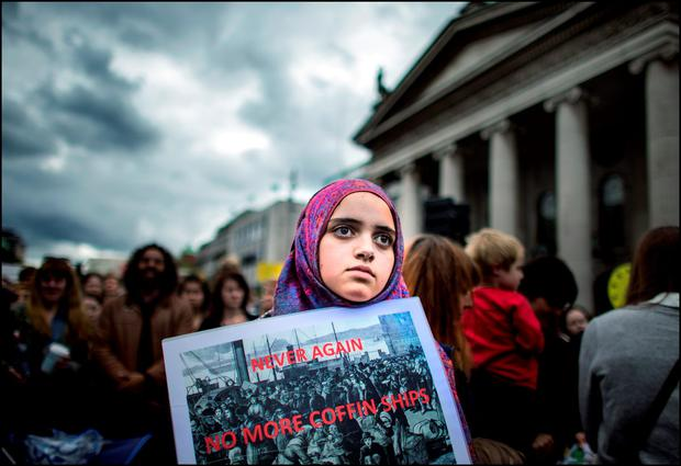 Maryam Filaih from Dublin at a welcome refugee rally on O'Connell Street Credit: David Conachy
