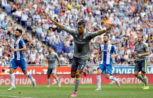 Real Madrid's Cristiano Ronaldo celebrates after scoring against Espanyol