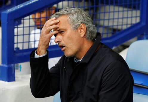 Chelsea manager Jose Mourinho during the 3-1 defeat to Everton