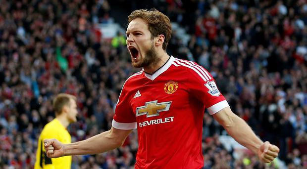 Football - Manchester United v Liverpool - Barclays Premier League - Old Trafford - 12/9/15 Daley Blind celebrates after scoring the first goal for Manchester United Action Images via Reuters / Carl Recine Livepic EDITORIAL USE ONLY. No use with unauthorized audio, video, data, fixture lists, club/league logos or
