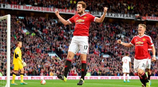 Manchester United's Daley Blind celebrates scoring his side's first goal of the game