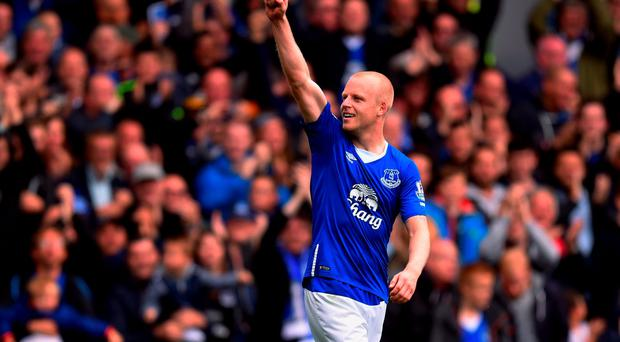 Steven Naismith celebrates after scoring his hat-trick