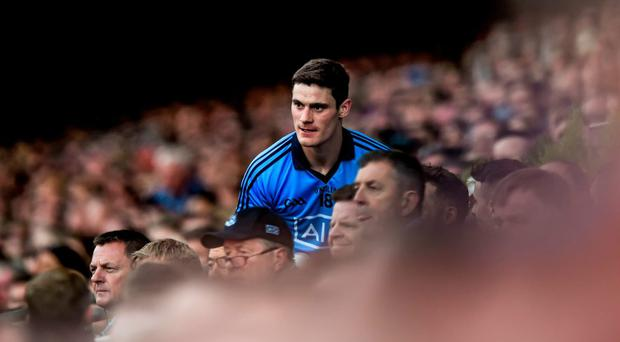 Dublin's Diarmuid Connolly takes his place on the substitutes bench after being replaced late in the game
