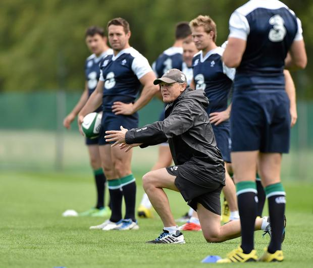 Ireland's head coach Joe Schmidt with his players during squad training
