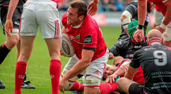 13 September 2015; CJ Stander, Munster, is congratulated after scoring the match winning try. Guinness PRO12, Round 2, Ospreys v Munster. Liberty Stadium, Swansea, Wales. Picture credit: Chris Fairweather / SPORTSFILE