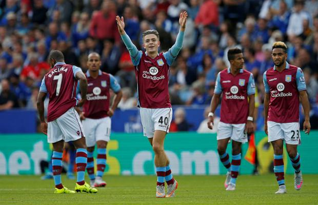 Aston Villa's Jack Grealish celebrates scoring their first goal