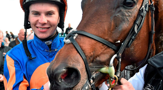 Joseph O'Brien in the Curragh winner's enclosure with Order Of St George after their victory in yesterday's Irish St Leger