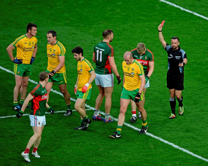 Kevin Keane (17) is sent off against Donegal, but later had the red card overturned