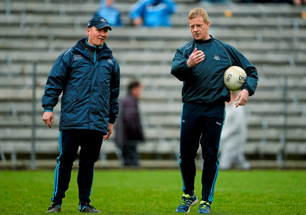 5 April 2015; Dublin manager Jim Gavin with selector Declan Darcy. Allianz Football League, Division 1, Round 7, Monaghan v Dublin. St Tiernachs Park, Clones, Co. Monaghan. Picture credit: Brendan Moran / SPORTSFILE