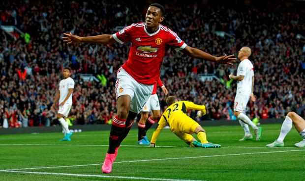 Anthony Martial celebrates after scoring the third goal for Manchester United after coming off the bench, only days after joining up at Old Trafford