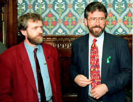 Jeremy Corbyn with Sinn Féin's Gerry Adams in 1995