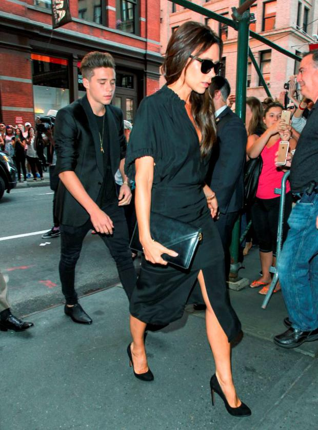 Brooklyn Beckham and Victoria Beckham are seen on September 13, 2015 in New York City. (Photo by gotpap/Bauer-Griffin/GC Images)