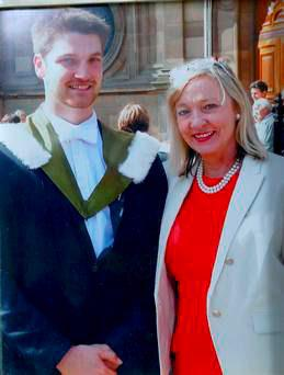 Joyce Craig with her son Michael during his graduation last year shortly before his illness was diagnosed