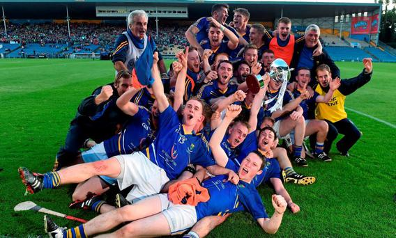 The Wicklow team celebrate with the cup after the game. Bord Gais Energy GAA Hurling All-Ireland U21 B Championship Final, Meath v Wicklow, Semple Stadium, Thurles, Co. Tipperary. Picture credit: Brendan Moran / SPORTSFILE