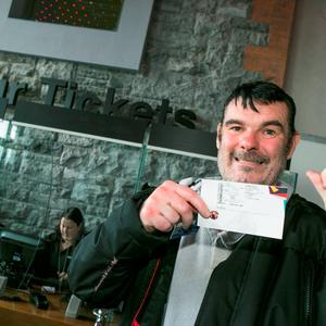 U2 Fan Eamonn Meek first in the queue with his Tickets at the 3Arena