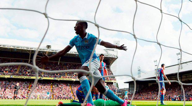 Kelechi Iheanacho of Manchester City celebrates scoring his team's opening goal during the Barclays Premier League match between Crystal Palace and Manchester City at Selhurst Park on September 12, 2015 in London