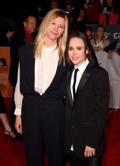Actress Ellen Page (R) and Samantha Thomas attend the