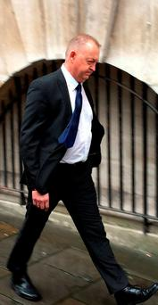 Peter Lower, a sergeant with Avon and Somerset Police, leaves Bristol Crown Court where he is on trial accused of rape, sexual assault, assault and false imprisonment Credit: Rod Minchin/PA Wire