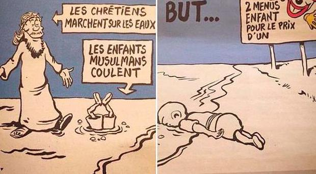Both cartoons are part of the magazine's September 9 issue Credit: Charlie Hebdo