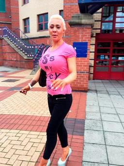 Aspiring glamour model Josie Cunningham leaves Leeds Magistrates' Court after being found not guilty of revenge porn after uploading a naked photo of her ex-fiance, Andrew Goy, on Twitter Credit: Amy Murphy/PA Wire