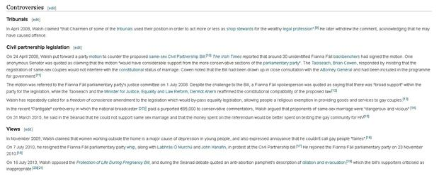 Senator's Walsh Wikipedia entry before the revisions Oireachtas IP address