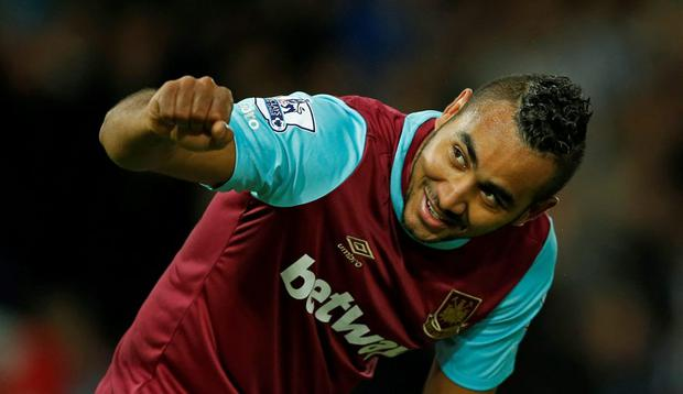 West Ham United's Dimitri Payet celebrates scoring his first goal against Newcastle United