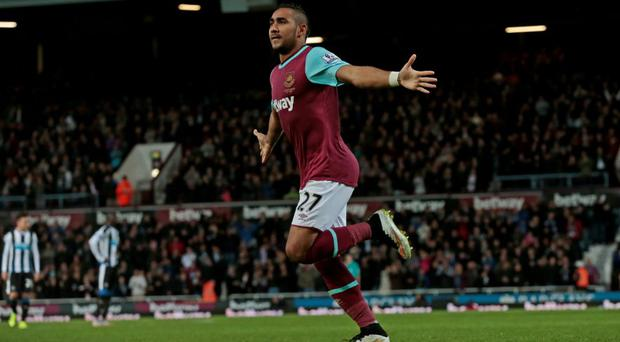 West Ham's Dimitri Payet celebrates scoring his second goal against Newcastle United