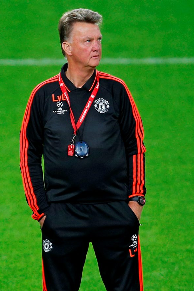 Manchester United manager Louis van Gaal during a training session at the Philips Stadion, Eindhoven