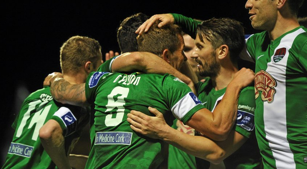 John O'Flynn, Cork City, celebrates with team-mates after scoring his side's third goal. Irish Daily Mail FAI Senior Cup Quarter-Final Replay, Cork City v Derry City. Turner's Cross, Cork. Picture credit: Eoin Noonan / SPORTSFILE