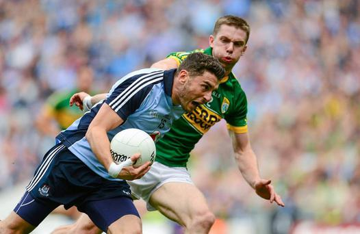 Bernard Brogan, Dublin, in action against Marc Ó Sé, Kerry in their last championship meeting in 2013