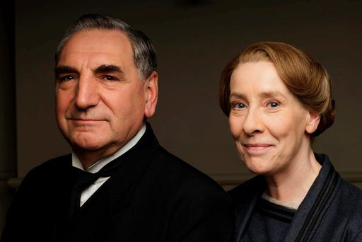 Undated handout photo issued by ITV of Jim Carter as Mr Carson and Phyllis Logan as Mrs Hughes in Downton Abbey
