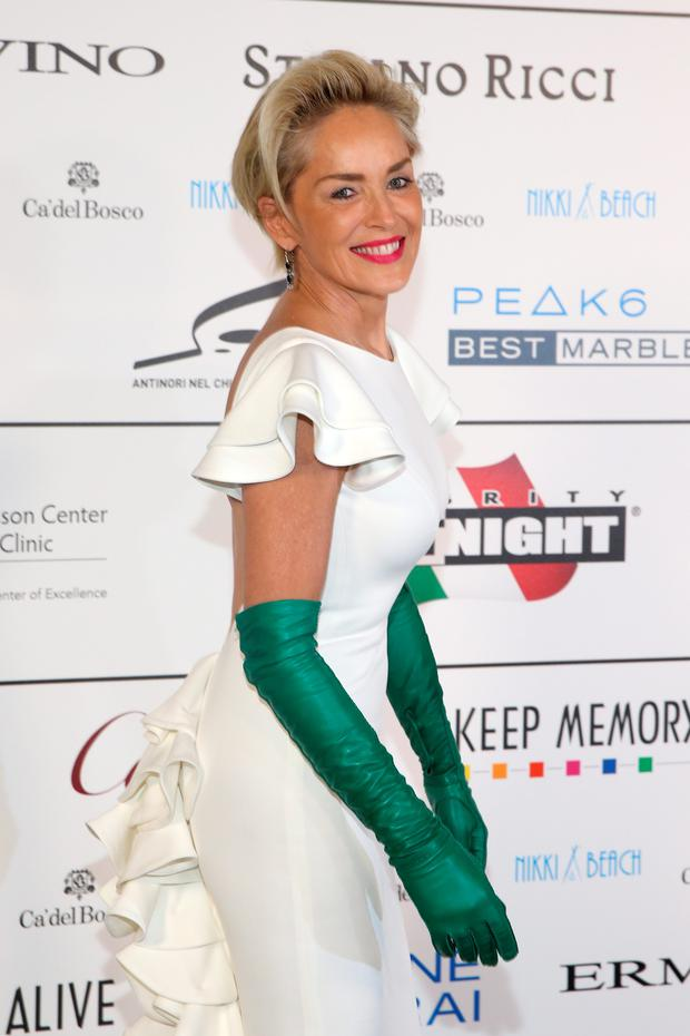 Actress Sharon Stone attends the Celebrity Fight Night gala at Palazzo Vecchio during 2015 Celebrity Fight Night Italy on September 13, 2015 in Florence, Italy.