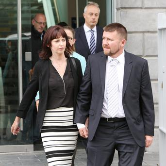 Joan and John are photographed leaving the Coroners Court. Photograph Liam Burke/Press 22